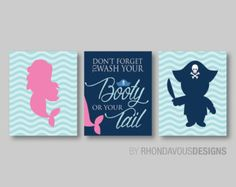 Kid Bathroom Art Print. Mermaid Pirate Bath by RhondavousDesigns2
