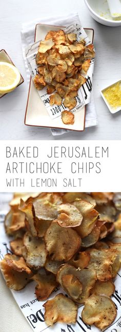 Crispy jerusalem artichoke chips are a healthy option for store bought chips. Baked in the oven and served with some delicious lemon salt.