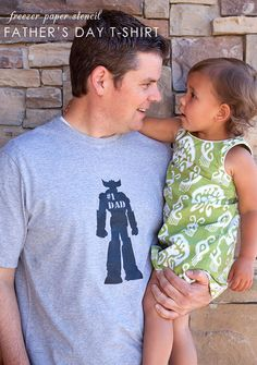 freezer paper stencils for father's day t-shirts; free templates for #1 robot, superdad, and camper graphics