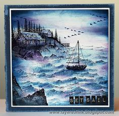 Layers of ink - By the Sea Scenic Stamping. Made with Stamscapes stamps, dye ink on glossy cardstock.