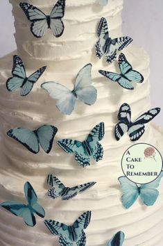 Pale icy blue edible butterfly cupcake toppers make it easy to decorate a cake or cupcakes. Edible and made with FDA approved food coloring inks, they're cut out and ready to put onto cupcakes or cookies, or to make a cascade on a baby shower cake Spring Cake, Summer Cakes, Fall Cakes, Wafer Paper Flowers, Wafer Paper Cake, Cake Decorating Tips, Cookie Decorating, Butterfly Cupcakes, Fall Wedding Cakes