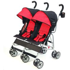 Baby Strollers See All StrollersTravel light and nimble with two children in tow with the Kolcraft Cloud Double Umbrella Stroller. Loaded with features, this stroller provides ultimate child comfort with independently reclining seats, roll-up cool climate seat backs and expandable canopy coverage.Kolcraft Cloud Double Umbrella Stroller, Scarlett Red:Lightweight and maneuverable at only 21 lbsIndependently reclining seats with padded 3-point safety harnessRoll-up, cool climate seat backs for…