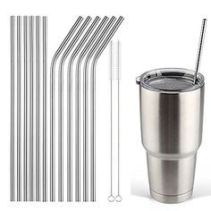 """Stainless Steel Drinking Straws, Fits Yeti, RTIC 20 Ounce Tumbler - Strong Reusable Eco Friendly, Set of 6 with 2 Cleaning Brushes by Decodyne (8.5"""")"""