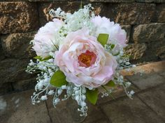Peony, lilies of the valley artificial bridal bouquet, blush, white fake flower, bride bouquet, rustic country bouquet, burlap and lace