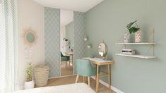 Et si vous passiez au vert dans votre chambre ? Ici, un joli coin bureau a été aménagé par nos architectes d'intérieur dans une chambre style scandinave aux tons pastels ! #bureau #RHINOV #projet3D #déco #chambre #vert
