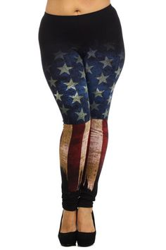 FIFTH DEGREE American Pride Flag COTTON PRINT PLUS Black LEGGINGS XXXL #FifthDegree