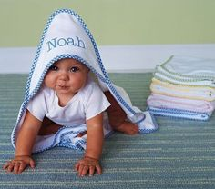Personalized Baby Hooded Towel/Embroidered Unique Gift from Adverts.ie #Babygift