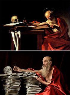 Painting Photos, Appropriation Art, Funny Paintings, Famous Artwork, Caravaggio Paintings, Fine Art, Tableau Vivant, Art Parody, Italian Art