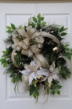 Beautiful Ivory Taupe Christmas Wreath with by HeatherKnollDesigns