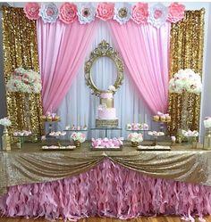 51 Ideas Baby Girl Birthday Backdrop Color Schemes For 2019 Baby Shower Backdrop, Baby Shower Table, Baby Shower Parties, Baby Shower Themes, Baby Shower Decorations, Shower Ideas, Princess Theme Party, Baby Shower Princess, Birthday Backdrop