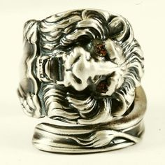 Victorian Lion Sterling Silver Spoon Ring with Yellow by Spoonier, $88.00