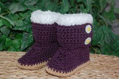 She does different colors too...  BABY UGGS Crochet Baby Booties  Baby Ankle Boots by fudgieknits, $15.00
