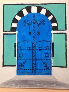 Peinture sur toile de porte de maison tunisienne. Peint par Sonia Dakhlaoui