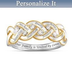 Solid sterling silver ring sparkles with 6 genuine diamonds and features up to 6 engraved names. 18K gold-plated accents. Engraved message. Gift box.