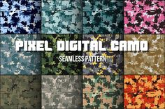 Ad: 12 Digital Pixel Camouflage Patterns by Vitamin on Set of 12 Classic Digital Pixel Camouflage seamless patterns. It can be used for laser cutting and carving. Vector Illustration isolated on Graphic Design Pattern, Graphic Patterns, Cool Patterns, Textures Patterns, Design Patterns, Pixel Pattern, Vector Pattern, Business Illustration, Pencil Illustration