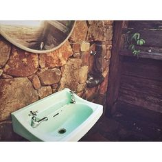 Well fell head over heels in love with our $100 Airbnb pad for last night. Complete with our own outdoor bathroom. #showerunderthestars #outdoorbathroom #airbnb #beautifulbathroom #rustic #vintagesink #stonework #recycledtimber by fionamiganphilip Bathroom remodeling ideas.