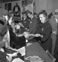Carole Lombard's service to America on what would be the last full day of her life, when she sold more than $2.1 million worth of war bonds at the Indiana State Capital. June 15, 1942.