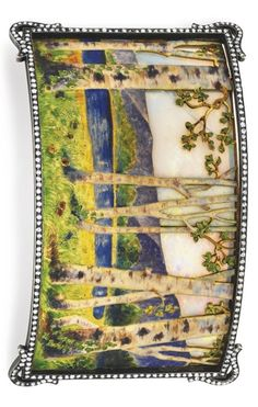 AN ART NOUVEAU OPAL, ENAMEL AND DIAMOND DOG COLLAR PLAQUE, BY KOCH. Designed as a rectangular panel depicting a spring landscape of white and brown enamel birch trees and green enamel grass with floral detail, with a blue enamel lake and purple enamel mountains in the distance, set against an opal sky, within a rose-cut diamond surround, mounted in silver-topped gold, circa 1900. #Koch #ArtNouveau #plaque
