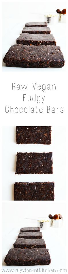 Raw Vegan Fudgy Chocolate Bars - Recipe on www.myvibrantkitchen.com