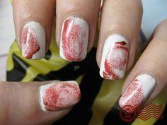 these look like a murder scene, but its a cool idea. i bet black fingerprints would look like ZEBRA!!