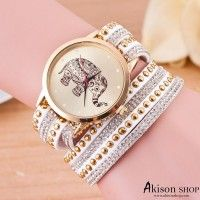 Women Leather Quartz Wrap Wrist Watch Elephant Bracelet Watches W001