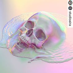 #Reposting @studioaira -- Melted dead colors . . . #iridescent #holographic #skull #melted #dissolve #rosequartzserenity #rosequartz #serenity #liquidsimulation #raimbow #studioaira #maya #vray #gradient #bifrost #abstract #surreal #c4d anche no! #3d #cgi