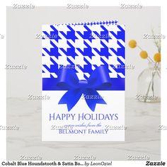 Shop Cobalt Blue Houndstooth & Satin Bow Custom Name Holiday Card created by LeonOziel. Holiday Cards, Christmas Cards, Merry Christmas, Satin Bows, Paper Napkins, White Christmas, Cobalt Blue, Houndstooth, Photo Cards