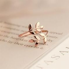 Charms Two colors Olive Tree Branch Leaves Open Ring for Women Girl Wedding Rings Adjustable Knuckle Finger Jewelry Xmas - women gold rings Womens Jewelry Rings, Cute Jewelry, Silver Jewelry, Jewelry Accessories, Women Jewelry, Jewelry Design, Jewelry Bracelets, Silver Ring, Jewelry Trends