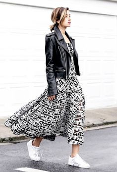 Summer maxi dress, sneakers, and leather moto jacket.