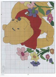 piglet & pooh in flower garden Bodhi Leaf, Disney Cross Stitch Patterns, Cross Stitch Fairy, Cross Stitch Freebies, Pooh Bear, Eeyore, Cross Stitching, Winnie The Pooh, Teddy Bear