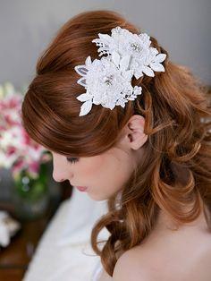 Lace Ivory Hair Flowers, Bridal Flower Headpiece, Bridal Hairpiece, Ivory Hair Clips, Wedding Hair Accessories - CARLA