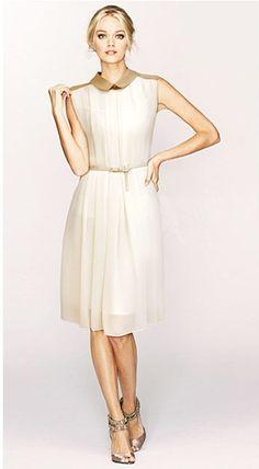 #sheinside Apricot Sleeveless Belt Pleated Chiffon Dress - Sheinside.com
