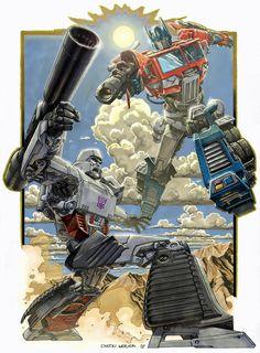 Optimus Prime vs. Megatron before Michael Bay ruined them.
