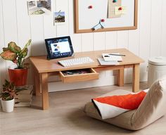 Ash Floor Table x1 w/drawer, Low Japanese Style Laptop PC Desk