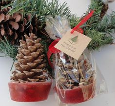 Pinecone fire starters.  Packaging.