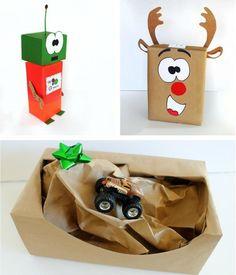 emballage cadeau original cerf, robot ou piste de rallye pour les enfants