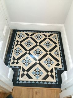 Hallway Tiles Victorian hallway tiles specialist we work very closely with our clients.Victorian hallway tiles specialist we work very closely with our clients. Victorian Hallway Tiles, Victorian Mosaic Tile, Tiled Hallway, 1930s Hallway, Entryway Tile Floor, Victorian Flooring, Edwardian Hallway, Wainscoting Hallway, Edwardian House
