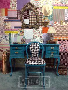 """Ateliando - Customização de móveis antigos: Escrivaninha com cadeira """"Forest"""""""