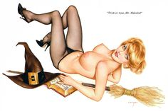 """Trick or treat, Mr. Malcolm?"" Illustration by Alberto Vargas / Playboy, October 1963."