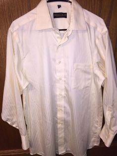 Donald Trump Signature Collection Dress Shirt Size 16 32 33 Large Yellow Striped #DonaldTrump #eBay #DressShirts #MensClothing
