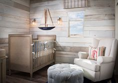 wood planks for wall treatment - Coastal Nursery Ideas