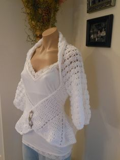 Hand crocheted super soft and light acrylic shrug  tailored waistline