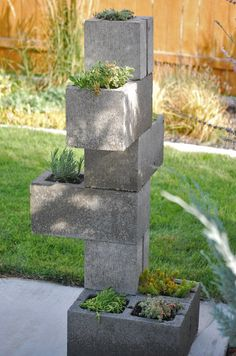 DIY cinder block bench; the back of it would need to be waterproofed in order to hold planting material. Description from pinterest.com. I searched for this on bing.com/images