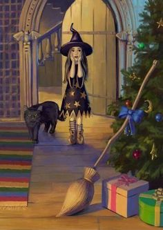 Witchling's Yule morning: What every little witchling want for Yule! Yule, Art Halloween, Vintage Halloween, Halloween Season, Celtic, The Worst Witch, Witch Art, Witch Broom, Winter Solstice