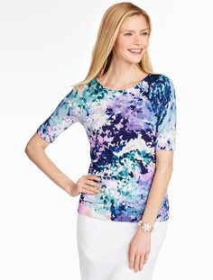 Talbots Elbow-Sleeve Sweater-Watercolor Lilac.  Also in Black, White.