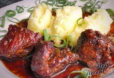 Vepřová líčka pečená na černém pivu | NejRecept.cz No Salt Recipes, Kefir, Ham, Mashed Potatoes, Cheesecake, Menu, Treats, Ethnic Recipes, Recipies