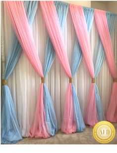 Beautiful Sheer Voile Draping by KCee's Party Pieces, that's just perfect for a Gender Reveal or Baby Shower!