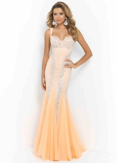 Sexy Tangerine Beaded Straps Open Back Fitted Evening Gown