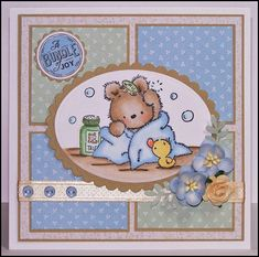 Okay, I don't know about you - but can you find a cuter image than this teddy from LOTV???? Papers: Petal Fresh - Nitwit Collection Digi Papers Stamp: Lili of the Valley Sentiment: Cuddly Buddly Di...