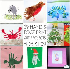 Tons of hand and foot print art ideas for kids! Perfect for the classroom or a cold, rainy day at home!
